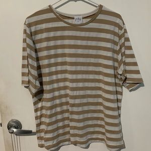 tan and white striped t shirt